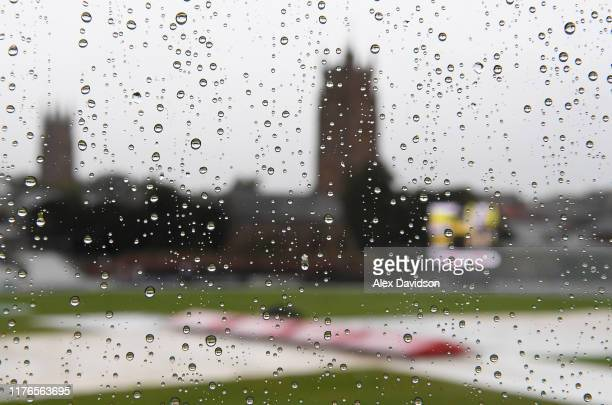 General view as rain delays play during Day One of the Specsavers County Championship Division One match between Somerset and Essex at The Cooper...
