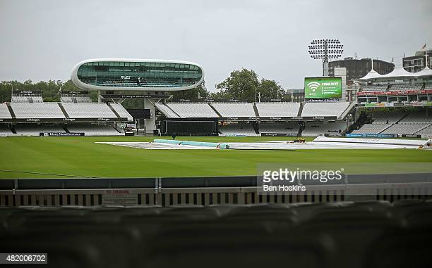 A general view as rain delays the start of play during the Royal London OneDay Cup match between Middlesex and Warwickshire at Lord's Cricket Ground...