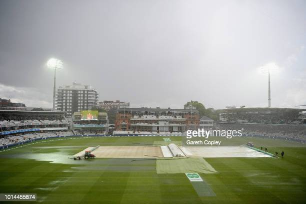 A general view as rain stops play during Day two of the Specsavers 2nd Test between England and India at Lord's Cricket Ground on August 10 2018 in...