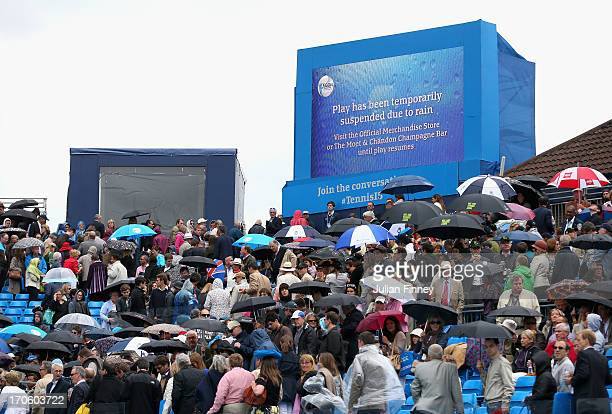 General view as rain stops play during the Men's Singles semi final round match between Lleyton Hewitt of Australia and Marin Cilic of Croatia on day...