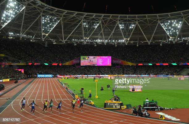A general view as Reece Prescod of Great Britain Justin Gatlin of the United States Yohan Blake of Jamaica Akani Simbine of South Africa Christian...