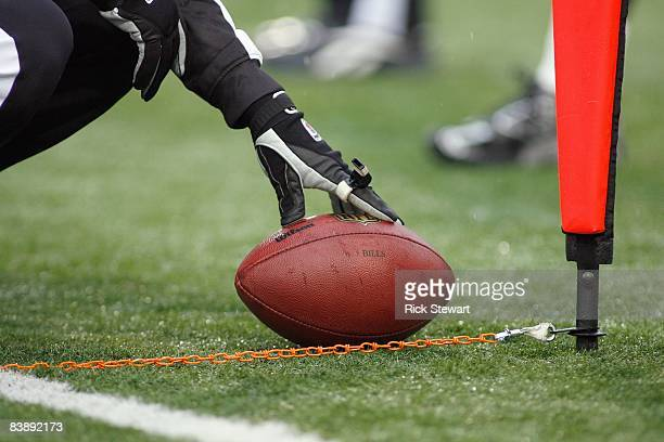 A general view as referees measure the ball placement during the game between the San Francisco 49ers and the Buffalo Bills at Ralph Wilson Stadium...