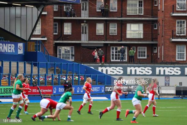 General view as residents watch from their balconies during the Women's Six Nations match between Wales and Ireland at Cardiff Arms Park on April 10,...