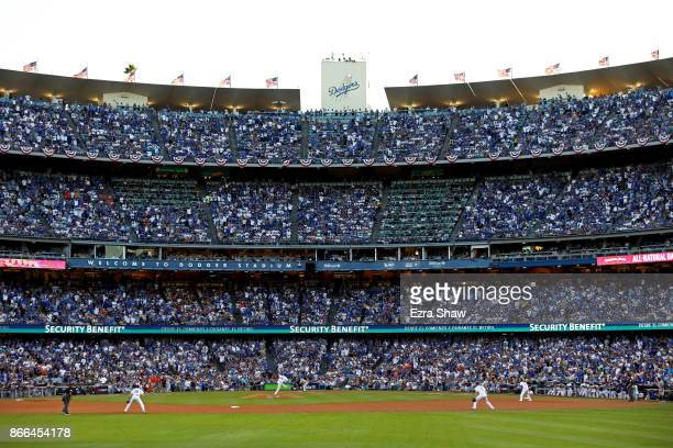 A general view as Rich Hill of the Los Angeles Dodgers throws a pitch during the second inning against the Houston Astros in game two of the 2017...