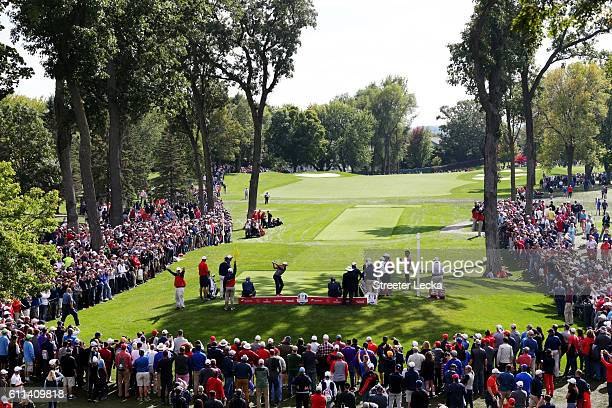 General view as Rickie Fowler of the United States plays a shot during practice prior to the 2016 Ryder Cup at Hazeltine National Golf Club on...