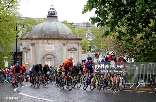 A general view as riders pass the historic Royal Pump Room on the circuit at Harrogate that will be used in the upcoming UCI World Championships...