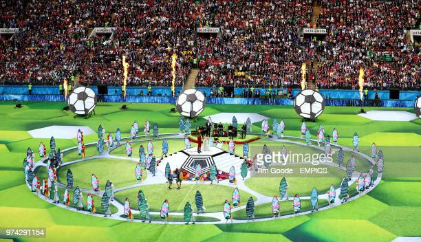 A general view as Robbie Williams and Aida Garifullina perform at the opening ceremony of the FIFA World Cup 2018 Russia v Saudi Arabia FIFA World...
