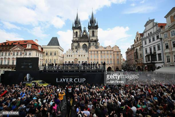 A general view as Rod Laver and the two sides speak to the fans in the city centre ahead of the Laver Cup on September 20 2017 in Prague Czech...