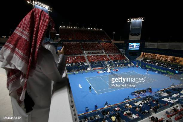 General view as Roger Federer of Switzerland plays his match against Dan Evans of Great Britain on Day 3 of the Qatar ExxonMobil Open at Khalifa...