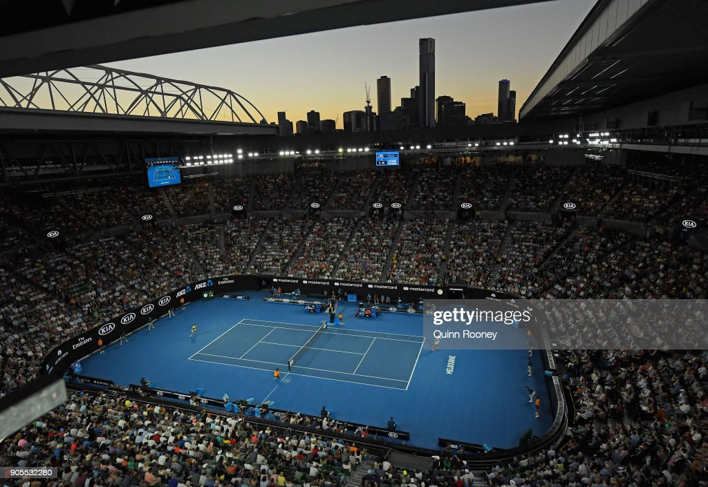 A general view as Roger Federer of Switzerland plays in his first round match against Aljaz Bedene of Slovenia on day two of the 2018 Australian Open at Melbourne Park on January 16, 2018 in Melbourne, Australia.