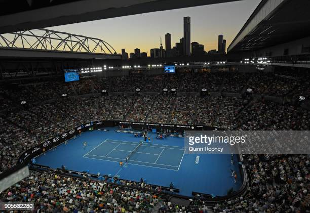 A general view as Roger Federer of Switzerland plays in his first round match against Aljaz Bedene of Slovenia on day two of the 2018 Australian Open...