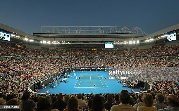 A general view as Roger Federer of Switzerland serves in his Men's Final match against Rafael Nadal of Spain on day 14 of the 2017 Australian Open at...