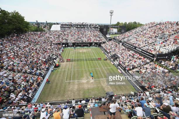 A general view as Roger Federer of Switzerland serves the ball to Nick Kyrgios of Australia during day 6 of the Mercedes Cup at Tennisclub Weissenhof...