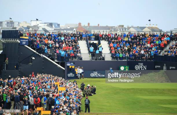 General view as Rory McIlroy of Northern Ireland tees off the 1st during the first round of the 148th Open Championship held on the Dunluce Links at...