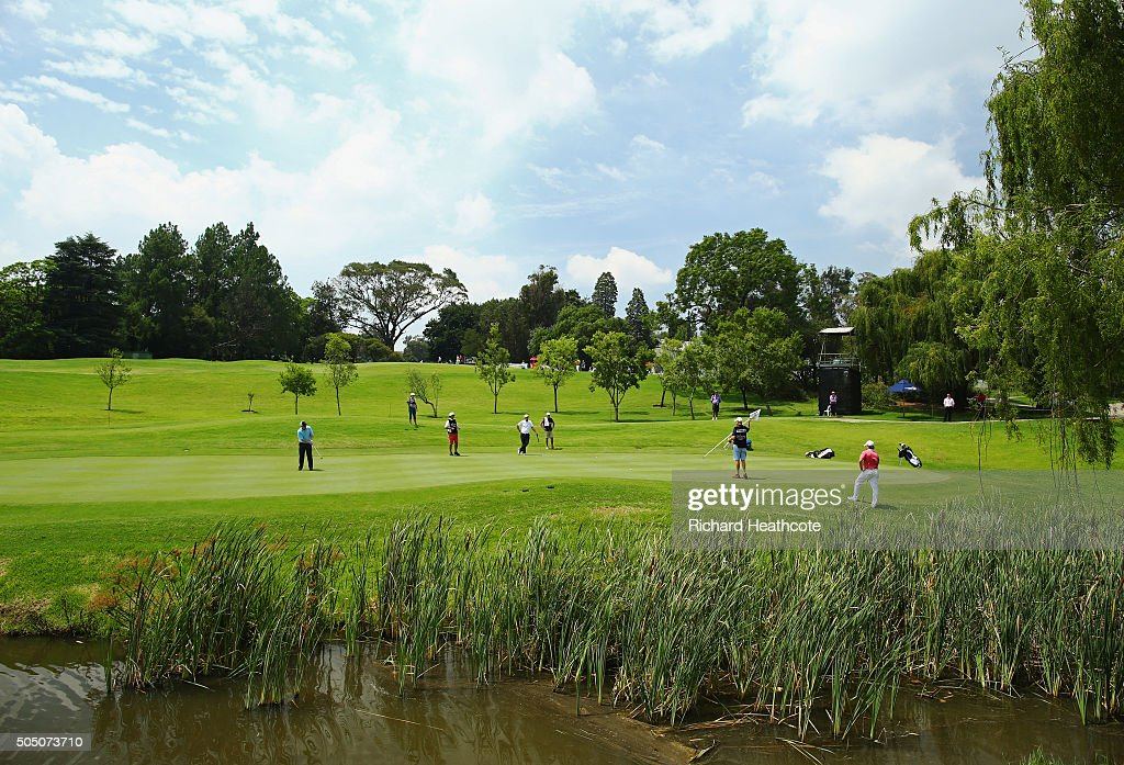 A general view as Ross McGowan of England putts on the 16th green on the West Course during day two of the Joburg Open at Royal Johannesburg and Kensington Golf Club on January 15, 2016 in Johannesburg, South Africa.