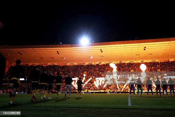 General view as Ruben Neves of Wolverhampton Wanderers leads the team out onto the pitch ahead of the Carabao Cup Third Round match between...
