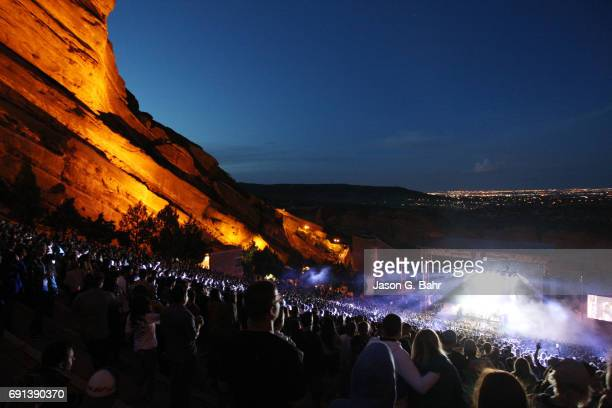 General view as Rufus du sol performs at Red Rocks Amphitheatre on June 1 2017 in Morrison Colorado
