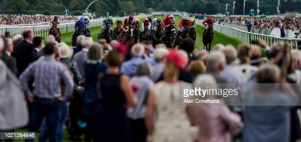 A general view as runner in The Sky Bet And Symphony Group Handicap Stakes race towards the finish at York Racecourse on August 22 2018 in York...
