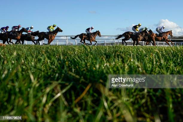 A general view as runner make their way towards the back straight in The EBM Handicap Hurdle at Newbury Racecourse on January 15 2020 in Newbury...