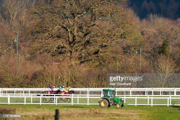 General view as runners approach the straight in The Matchbook Best Odds Handicap Chase at Ascot Racecourse on January 23, 2021 in Ascot, England....