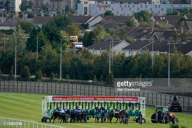 A general view as runners are loaded into the stalls at Leopardstown Racecourse on Irish Champion Stakes Day on September 14 2019 in Dublin Ireland