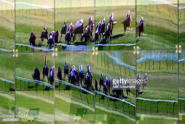 A general view as runners are reflected in the restaurant glass at Newmarket racecourse on April 16 2014 in Newmarket England