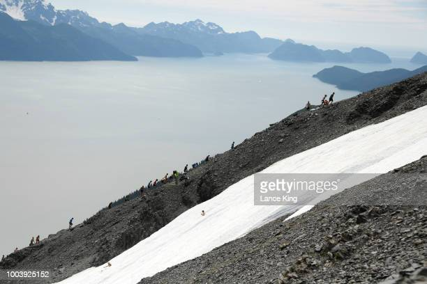 A general view as runners ascend and descend Mount Marathon during the Men's Division of the 91st Running of the Mount Marathon Race on July 4 2018...