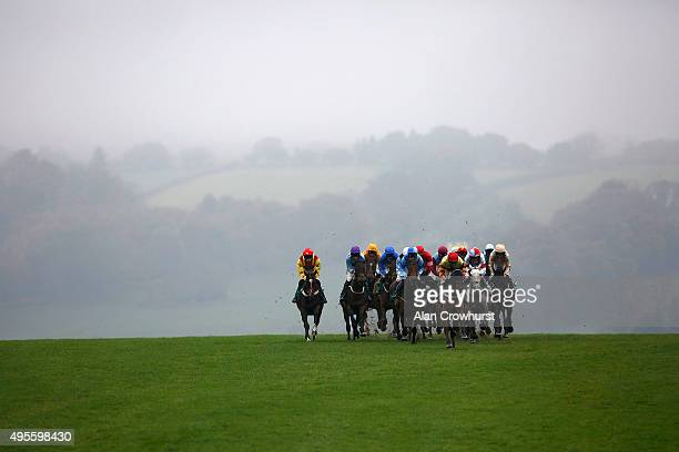 A general view as runners begin to descend to the bottom bend in The Truvape Maiden Hurdle Race the at Chepstow racecourse on November 04 2015 in...