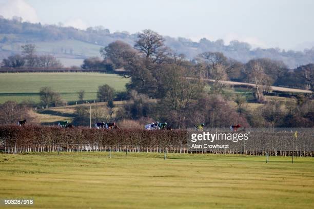 A general view as runners begin to turn into the straight at Ludlow racecourse on January 10 2018 in Ludlow England