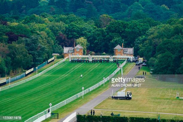 General view as runners break from the stalls in The Silver Royal Hunt Cup Handicap Stakes on day two of the Royal Ascot horse racing meet, in Ascot,...