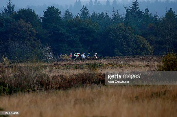 A general view as runners circle at the start at Exeter Racecourse on November 1 2016 in Exeter England