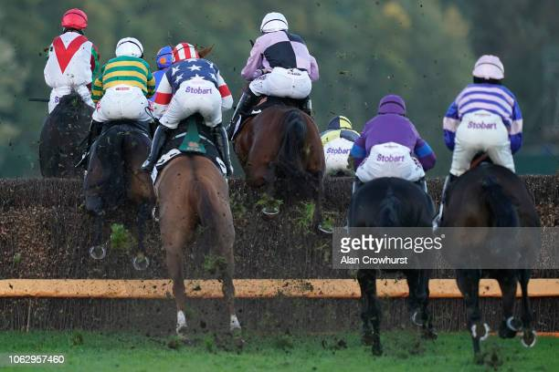 A general view as runners clear a fence at Ascot Racecourse on November 03 2018 in Ascot England