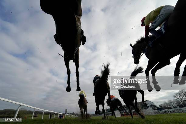 General view as runners clear a fence at Chepstow Racecourse on March 21, 2019 in Chepstow, Wales.