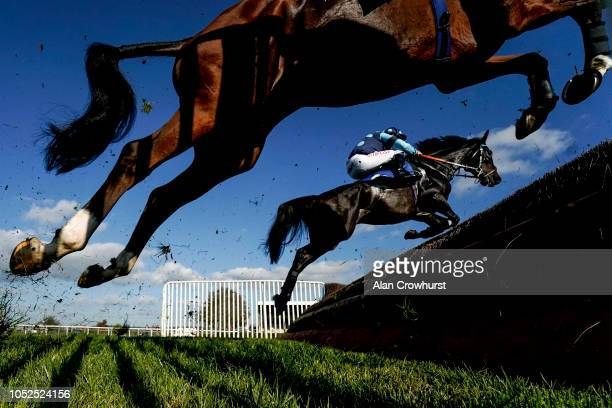 A general view as runners clear a fence at Wincanton Racecourse on October 19 2018 in Wincanton England