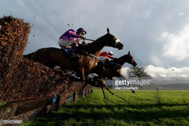 A general view as runners clear a fence in the back straight at Taunton Racecourse on November 29 2018 in Taunton England