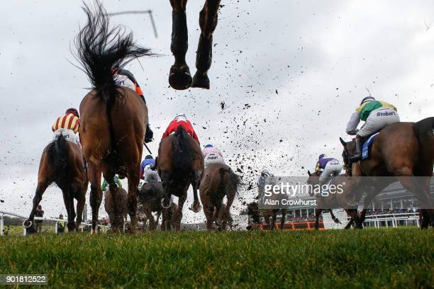 General view as runners clear a fence in The Coral Welsh Grand National Handicap Steeple Chase at Chepstow racecourse on January 6, 2018 in Chepstow,...