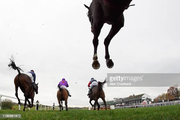 General view as runners clear a fence in the straight during The MCL Logistics Supports Racing Welfare Conditional Jockeys' Handicap Chase at...
