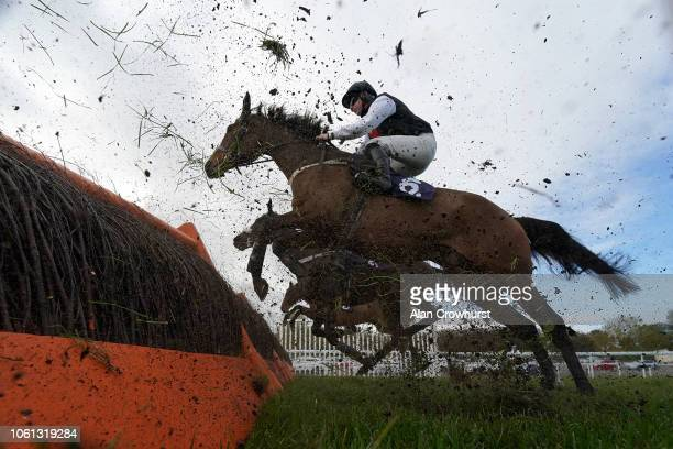 General view as runners clear a flight of hurdles at Chepstow Racecourse on October 30, 2018 in Chepstow, Wales.