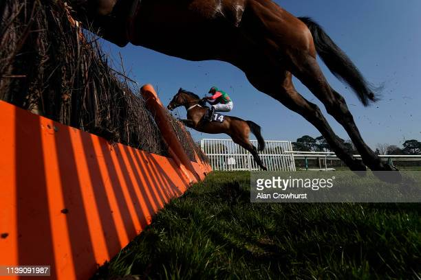 A general view as runners clear a flight of hurdles at Fontwell Park on March 29 2019 in Fontwell England