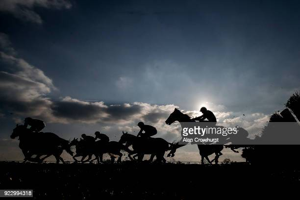 A general view as runners clear a flight of hurdles at Huntingdon racecourse on February 22 2018 in Huntingdon England
