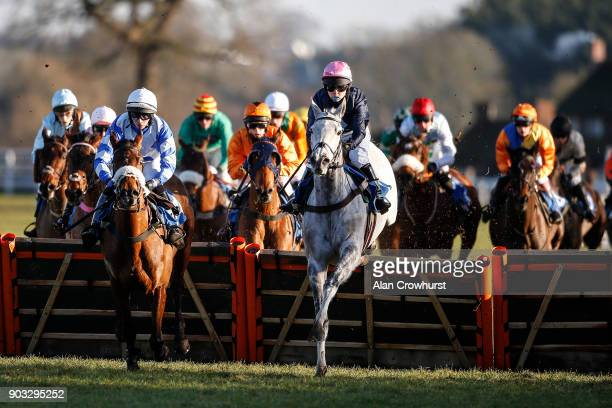 A general view as runners clear a flight of hurdles at Ludlow racecourse on January 10 2018 in Ludlow England