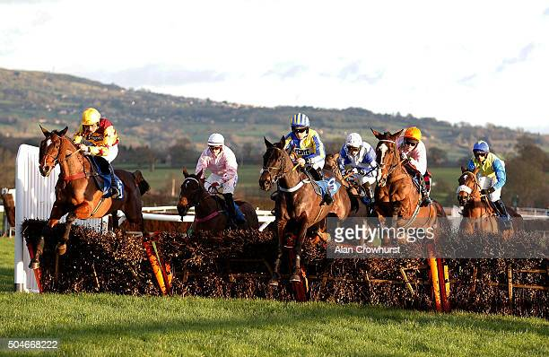 A general view as runners clear a flight of hurdles at Ludlow racecourse on January 12 2016 in Ludlow England