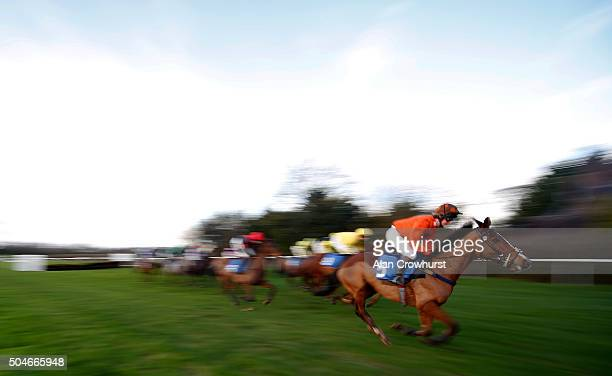 A general view as runners clear a hurdle down the back straight at Ludlow racecourse on January 12 2016 in Ludlow England