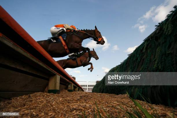 A general view as runners clear an open ditch at Huntingdon racecourse on October 17 2017 in Huntingdon United Kingdom