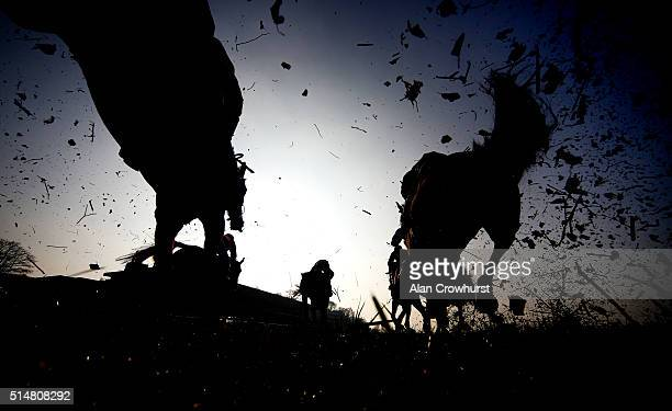 A general view as runners clear the fence in front of the grandstands in The Grand Military Gold Cup at Sandown racecourse on March 11 2016 in Esher...