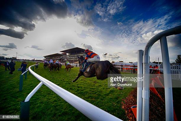 General view as runners clear the flight of hurdles in front of the grandstands at Cheltenham Racecourse on October 21, 2016 in Cheltenham, England.