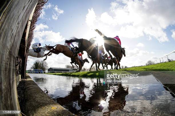 A general view as runners clear the water jump during The Building Supplies Ltd Handicap Chase at Wincanton Racecourse on February 26 2020 in...