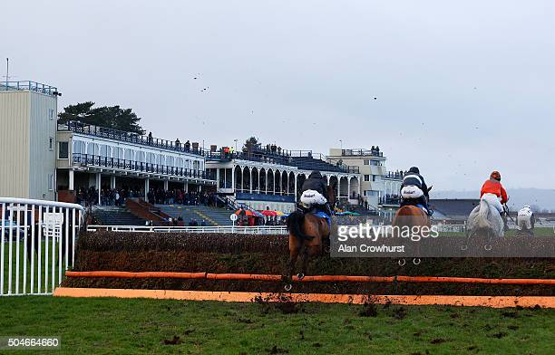 A general view as runners cler the fence in front of the grandstands at Ludlow racecourse on January 12 2016 in Ludlow England