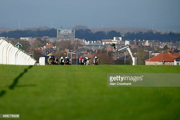 A general view as runners climb the hill at Carlisle racecourse on November 02 2014 in Carlisle England