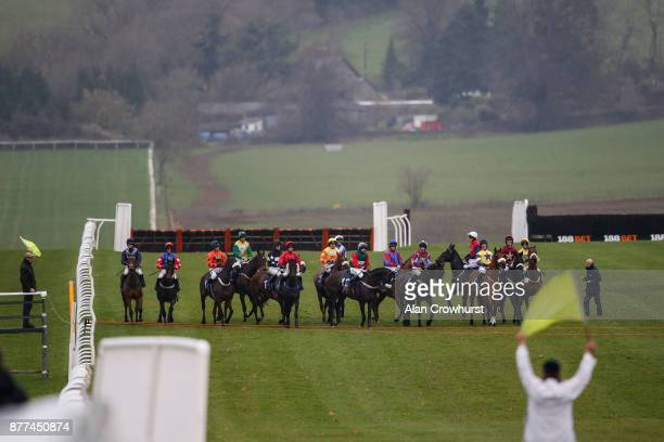 A general view as runners come under starters orders at Chepstow racecourse on November 22 2017 in Chepstow United Kingdom